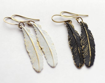 Boho Feather Earrings, Tribal Earrings, Boho Earrings Rustic Black and Gold Earrings, Gold and White earrings, Raven Feather Earrings, SRAJD