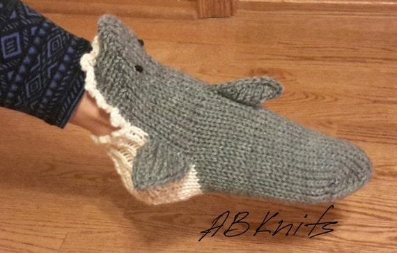 Hand Knit Gray Shark Socks