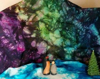 Aurora Borealis Northern Lights Play Silk ~ Silk Scarf ~ Hand Dyed ~Waldorf Inspired!
