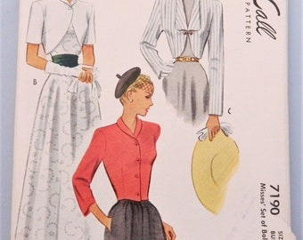 Mid-century Jackets Pattern - 1948 boleros with various collars and short, 3/4 and long sleeve options; McCall sewing pattern 7190  size 16
