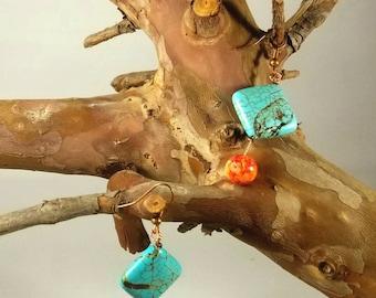 Colorful Turquoise and Orange Dangle Earings