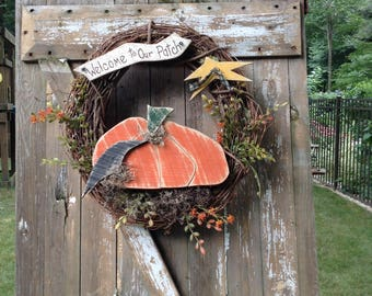 Primitive, Primitive wreath, Halloween Primitive wreath, Pumpkin Wreath, Primitive Pumpkin, OFG team, Primitive fall wreath, Country Wreath