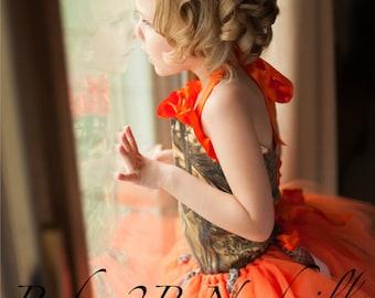 Orange Camo Flower Girl Tutu  All Sizes Girls