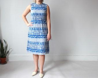 vintage plus size floral dress   sleeveless plus size dress, size