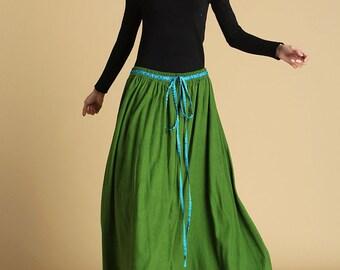 green linen skirt, maxi long skirt, drawstring skirt, pleated skirt, womens skirt, summer skirt,  plus size skirt, gift ideas 464