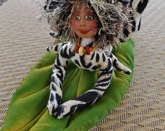 ON SALE: OOAK, Whimsical fiber sculpted jungle cat fairy on handpainted silk leaf
