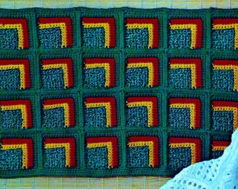 Granny Square Rug Vintage Crochet Pattern Instant Download