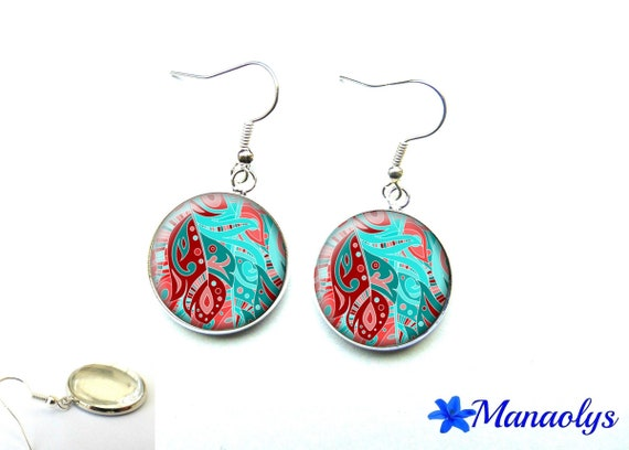 Blue, pink and Red pattern 2829 glass cabochons earrings