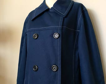 1960s London Fog Double Breasted Trench / Navy