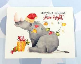 Christmas Card, Holiday Cards, Rhino, Christmas Card Set, Funny Christmas, Set of 10 cards