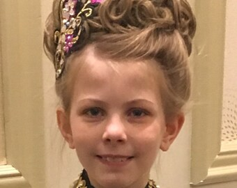 Irish Dance Embroidered Daffodill Hair side tiara with 16mm teardrop AB Diamante rhinestones