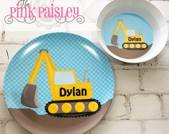 Little Digger Construction Personalized Diner Set   Kids Plate  Birthday Gift   Toddler Plate Gift   Kids Gift