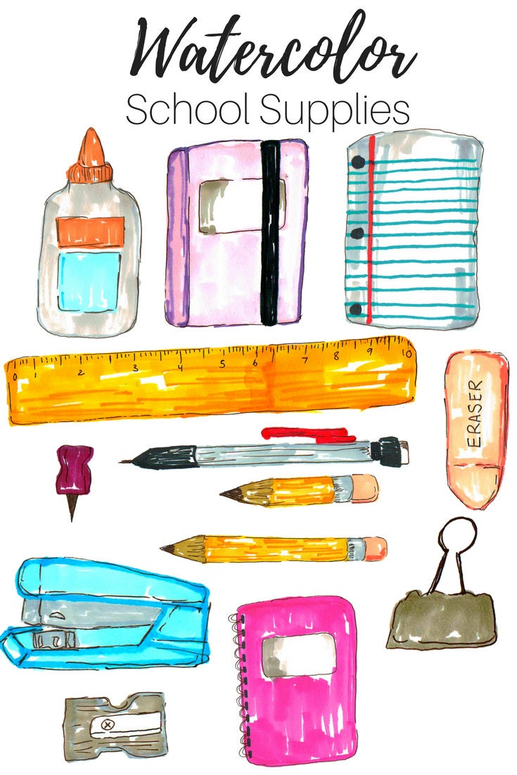 school clip art school supplies clip art hand drawn clip art rh etsystudio com clipart pictures of school supplies clipart pictures of school supplies