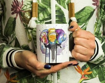 Rainbow Elephant Mug, Bright Elephant Cup, Elephant Lover Gift, Elephant Kitchen Present, Rainbow Animal Mug, Gifts For Her, Valentines Mug