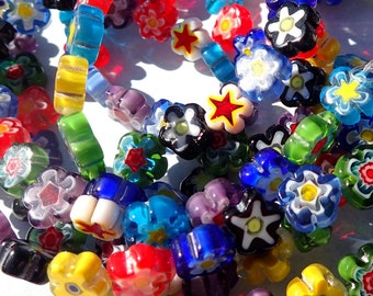 Flower Millefiori Glass Beads - Assorted Colors - 8-10mm Use in Mosaics - Supplies to Create Jewelry - Approx 45 beads