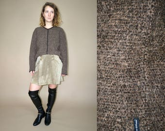 80's vintage women's alpaca wool brown sweater
