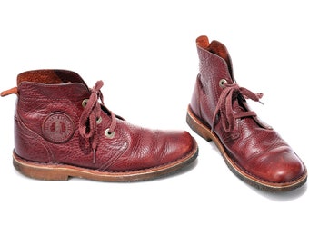 US men 9 Desert Boots 80s Burgundy Red Leather Boots Lace Up Ankle Boots Vintage CLARKS High Quality Luxury Boots for Men. Eur 43 Uk 8.5