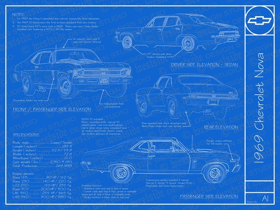 1969 chevrolet nova blueprint poster 18x24 jpeg malvernweather Images