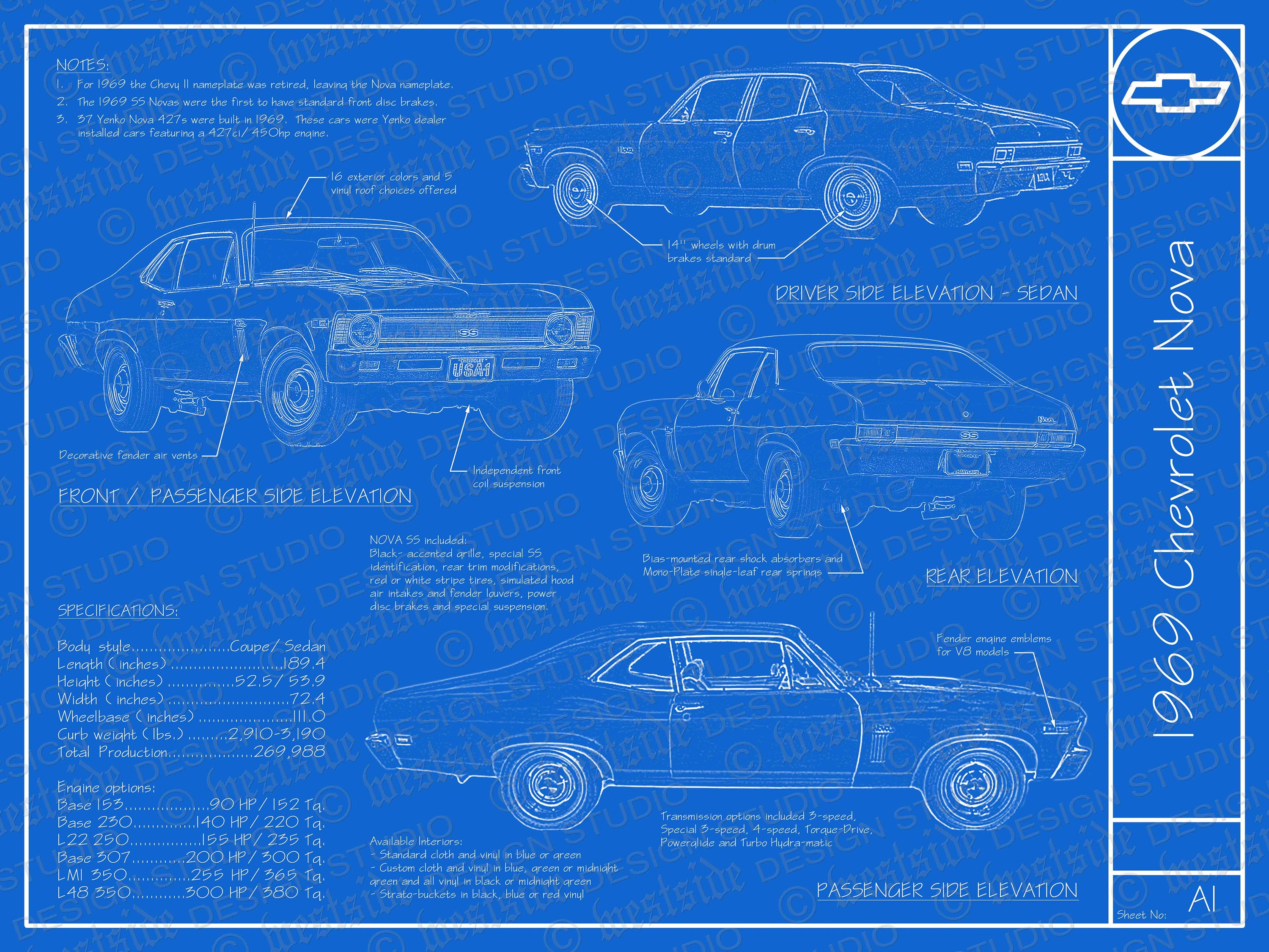 1969 chevrolet nova blueprint poster 18x24 jpeg zoom malvernweather Choice Image