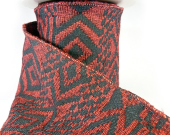 """Red And Black Woven Blanket Wired Ribbon  4"""" Wide"""