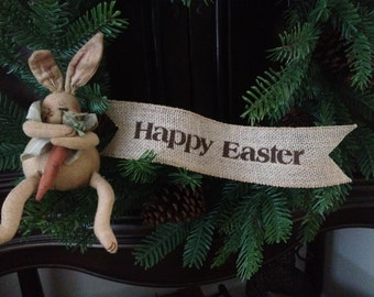 Primitive Happy Easter Wired Burlap Banner