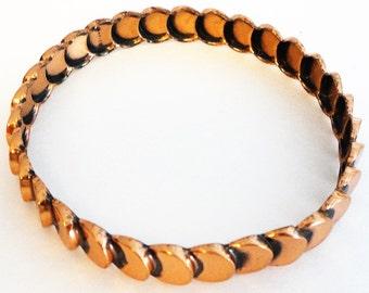 """COPPER Vintage Bangle Bracelet 9"""" Arm Candy Retro 1970's"""