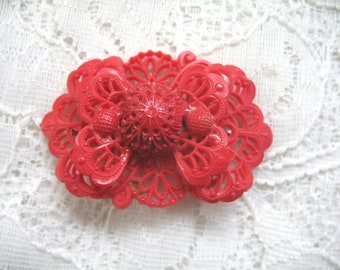 Vintage Celluloid Lacy Brooch