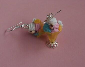 Earrings Icecream with cream and orange, sundae rainbow, miniature food