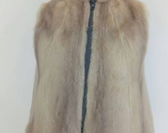 Unique violet or saphire mink fur gilet. Real fur vest or waistcoat. upcycled fur. Vest, gilet, waistcoat - young girl 9 to 15 years approx