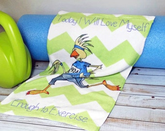 Workout Towel Inspiration Today I will Love Myself Enough to Exercise Lime Chevron Turquoise Blue Fitness 11x18