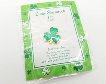 Old Stock Lucky Shamrock Pin - St. Patrick's Day Lapel Pin Made by GANZ