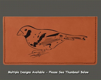 Engraved Leatherette Checkbook Cover - Bird Designs
