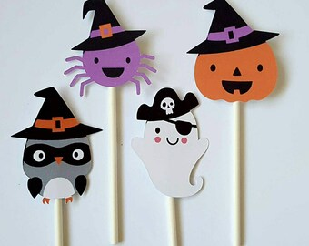 Halloween cupcake toppers - set of 12, Owl cupcake, Ghost, spider, pumpkin, Halloween centerpiece, Halloween cake topper, Halloween party