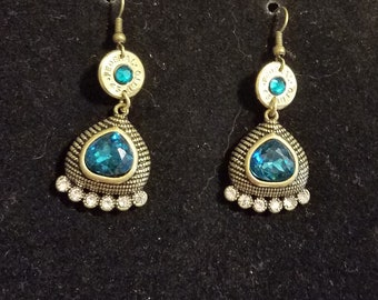 blue earrings .45 auto recycled gun casing.