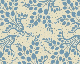 By The HALF YARD - Sara's Stash by Sara Morgan for Blue Hill Fabrics, Pattern #7411-2 Denim Blue Floral on Cream