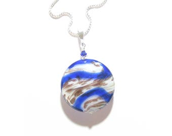 Murano Glass Blue White Disc Pendant, Large Pendant, Italian Jewelry, Sterling Silver Chain, Cobalt Blue, Venetian Necklace, For Women