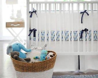 White Pique in Navy Baby Bedding Set