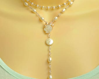 Layered Pearl Necklace, REAL Pearl Layered Y Necklace in Sterling Silver