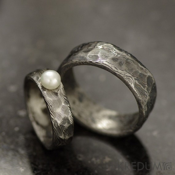 Rustic Wedding Ring Engagement ring Custom Stainless