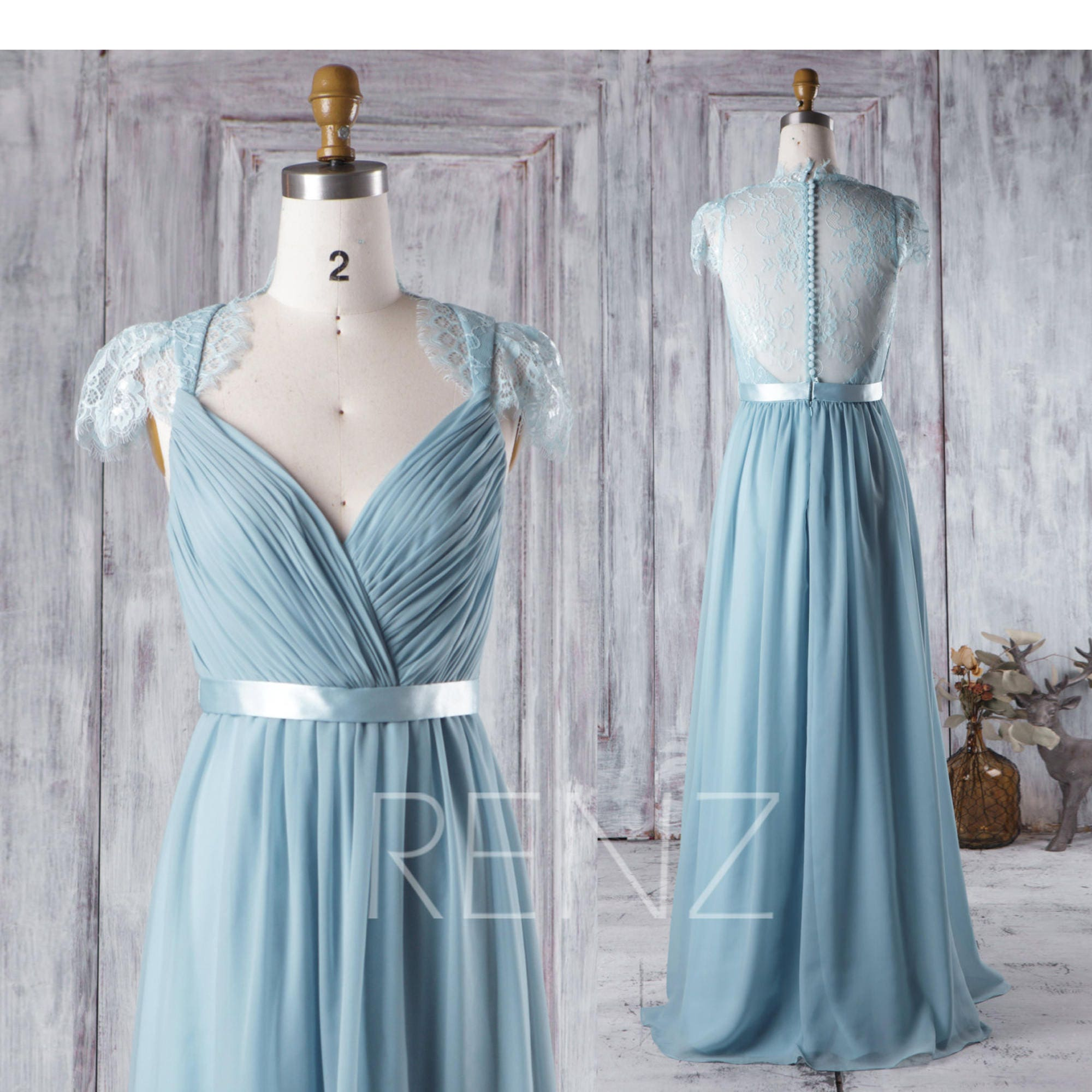 Dusty blue bridesmaid dress v neck wedding dress lace back zoom ombrellifo Gallery