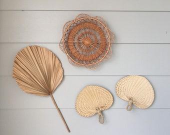 Hanging wall basket and 2 rattan fan set