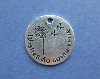 5 Wishes Do Come True Charms - Wishes Do Come True Pendants - Wish - Carved Charm - Antique Silver - 20mm  -- (No.77-10456)