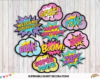 Supergirl Word Bubbles, Superhero Girl Centerpieces Printable, Superhero Birthday Party Decor, 1 Centerpiece per Page, INSTANT DOWNLOAD