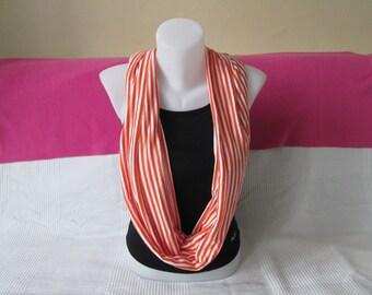 Scarf, striped orange and White Jersey