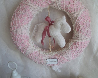 Crown pink powder and white shabby chic, horse carousel fabric and metal label