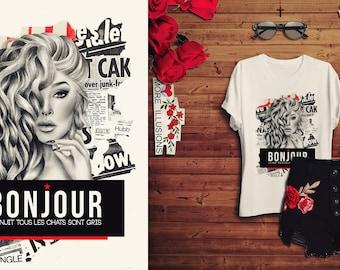 BONJOUR t-shirt, Feminist Tshirt, Girl Power Tee Shirts, Slogan T-shirt, Feminism, Printed T-shirt