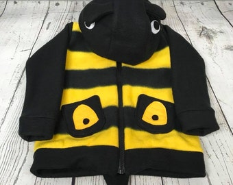 4T-5T Bee Fleece Toddler Sweatshirt, Hooded Bumble Bee Sweatshirt, Toddler Bumble Bee Hoodie, 5T Bee Sweatshirt, 4T Bumblebee Sweatshirt