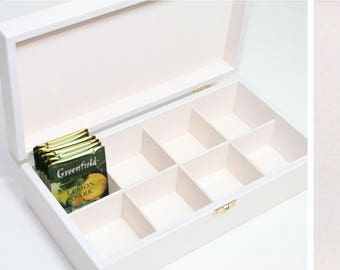 Wooden Tea Box / Jewelry Box / 8 Compartments Box / Wooden Keepsake Box / White Box / Personalized Box Option / Collection Box