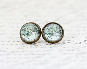 Mother Gift - Africa Asia Map Earrings - Stud Earrings - Travel - Map Jewelry - Vintage Map Print - Stud Earrings - Explorer - Gift For Her