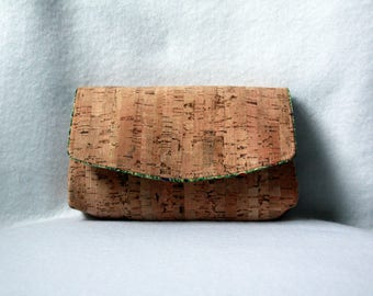 Cork Clutch - Natural Cork Bag with Peacock Lining